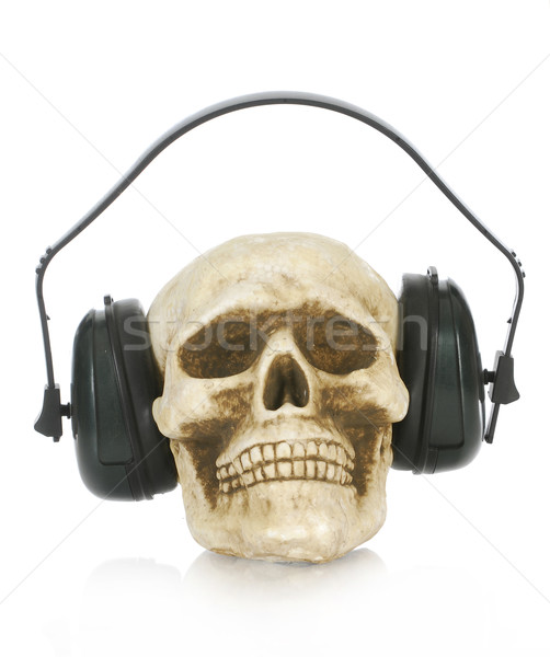 skull wearing headphones Stock photo © willeecole