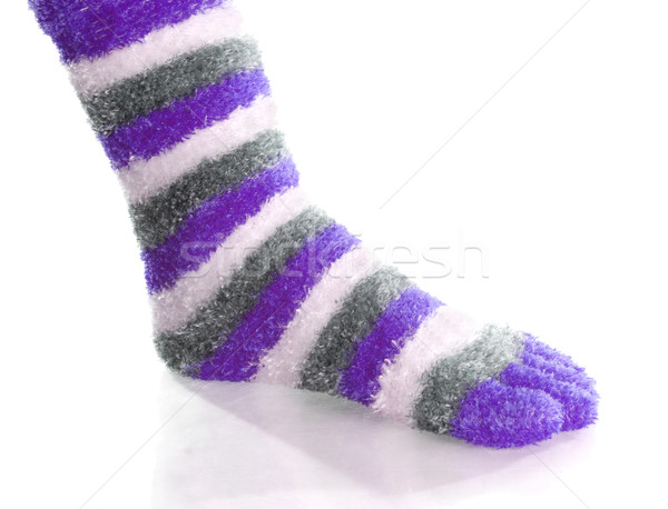purple gray and white striped toe socks with reflection on white background Stock photo © willeecole