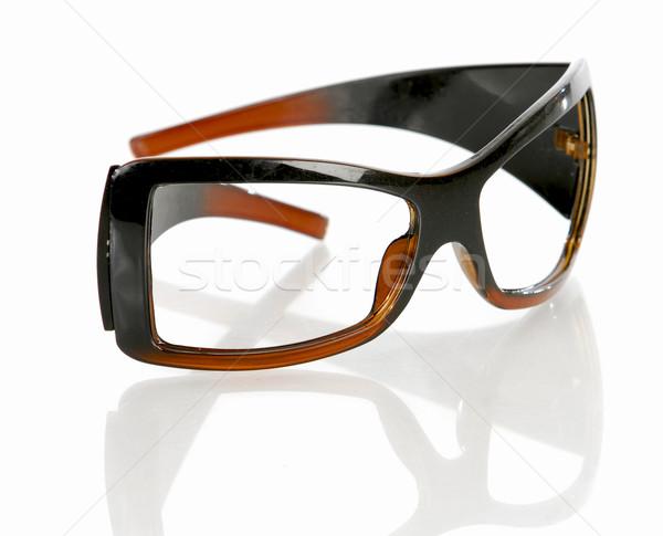 Olvasószemüveg izolált fehér szem háttér keret Stock fotó © willeecole