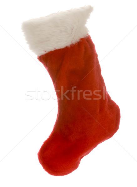 Piros karácsony harisnya izolált fehér tél Stock fotó © willeecole