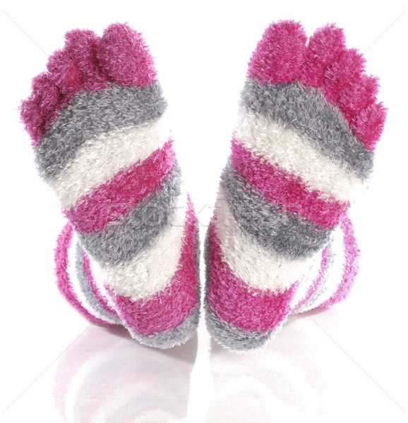 fuzzy pink toe socks with reflection isolated on white background Stock photo © willeecole