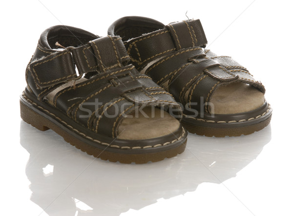 leather infant or baby sandals with reflection on white background  Stock photo © willeecole