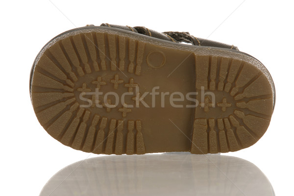 Stock photo: sole of baby or infant shoe with reflection on white background