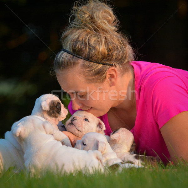 woman and litter of puppies Stock photo © willeecole