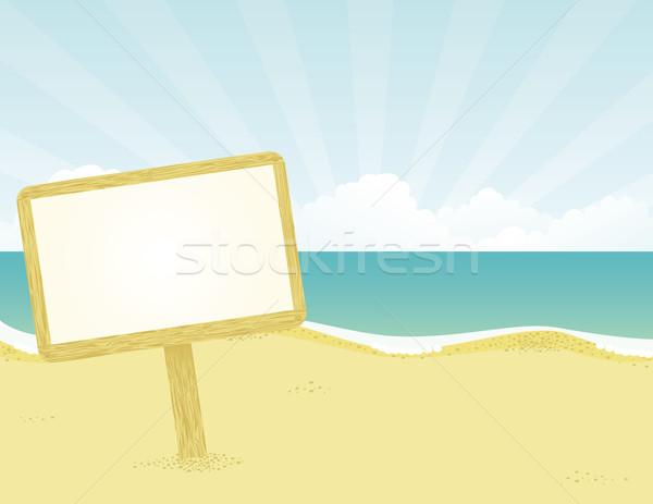 баннер пляж прибыль на акцию глобальный цветами воды Сток-фото © wingedcats
