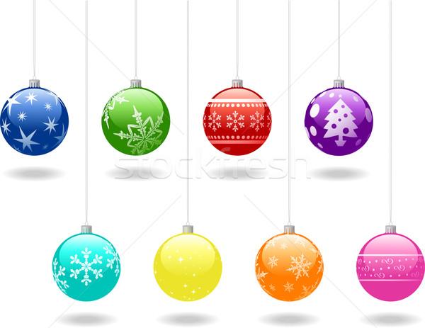 Christmas acht kunst groene Rood Stockfoto © wingedcats