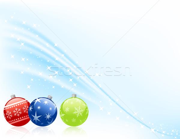 Három karácsony hó háttér művészet zöld Stock fotó © wingedcats