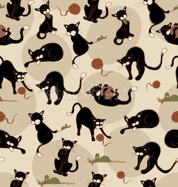 Siyah kediler soyut fare Stok fotoğraf © wingedcats