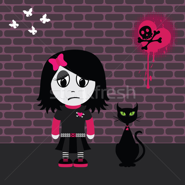 Sad emo girl Stock photo © wingedcats