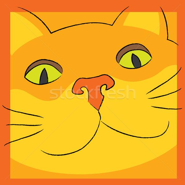 Kat glimlachend oranje gezicht naar eps Stockfoto © wingedcats