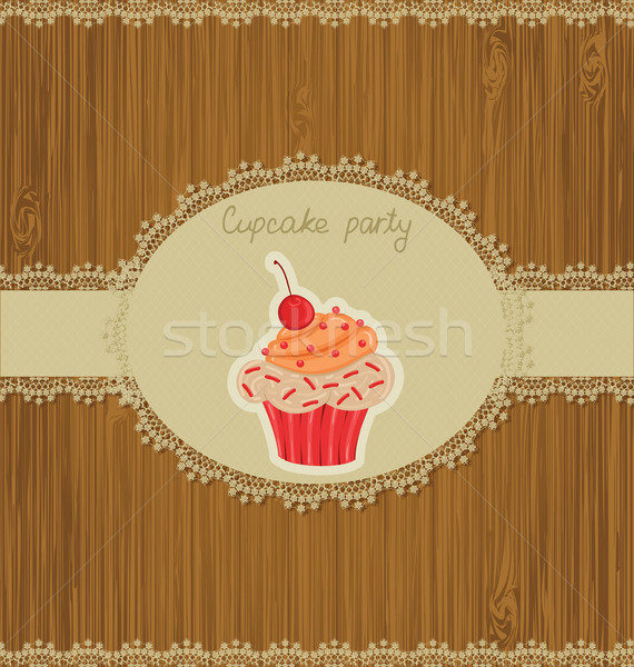 Minitorta kártya meghívó buli terv csokoládé Stock fotó © wingedcats