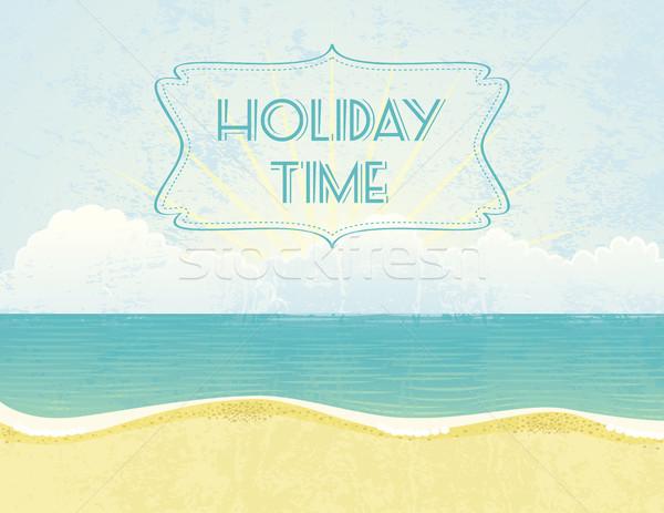 Zomer tijd grunge vakantie banner Stockfoto © wingedcats