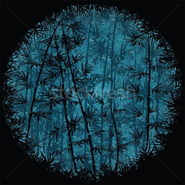 Stockfoto: Bamboe · bos · nacht · boom · natuur · ontwerp