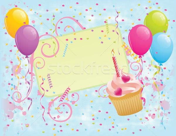 Doğum günü afiş balonlar konfeti Stok fotoğraf © wingedcats