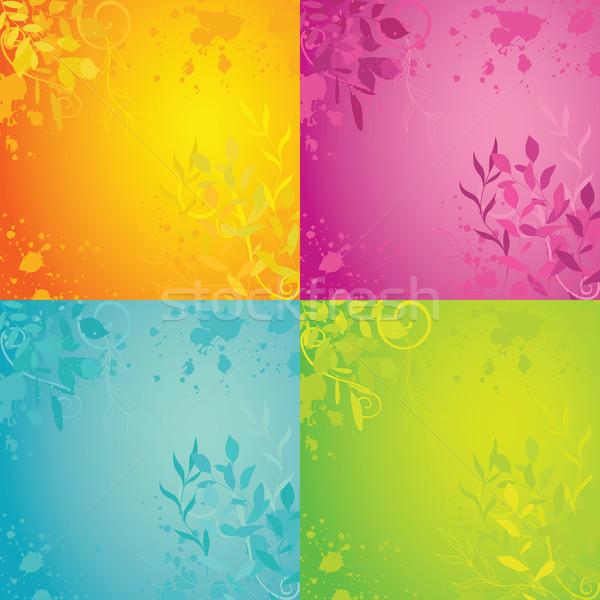 Tavasz gyűjtemény négy színes virágmintás hátterek Stock fotó © wingedcats