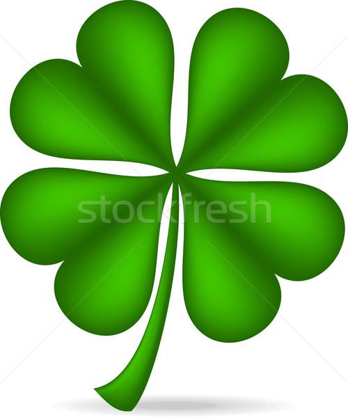 Shamrock isolé blanche vert trèfle irlandais Photo stock © wingedcats