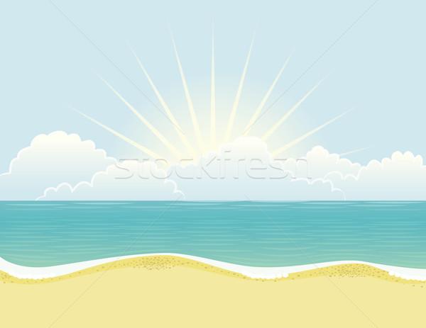 Strand dag golvend zee zonsondergang zonsopgang Stockfoto © wingedcats