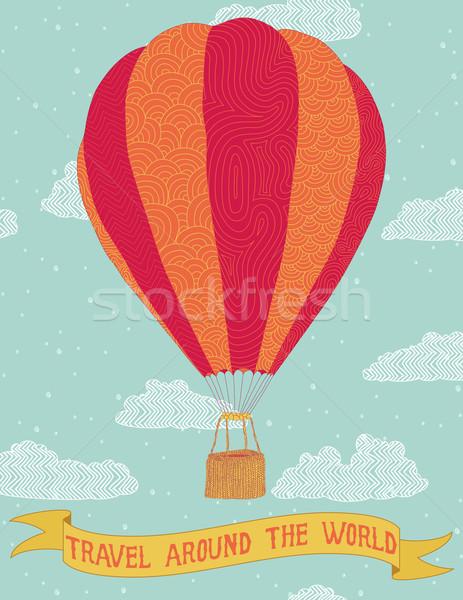 Seyahat etrafında dünya Sıcak hava balonu afiş kitap Stok fotoğraf © wingedcats