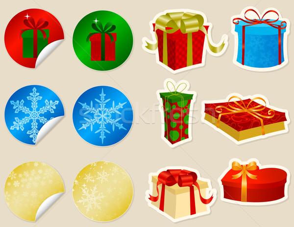 Noel hediyeler oniki ayarlamak parti Stok fotoğraf © wingedcats