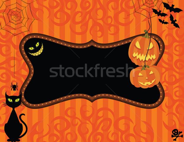 Stockfoto: Halloween · uitnodiging · partij · kat · frame · zwarte