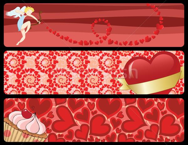 набор три различный Баннеры любви Сток-фото © wingedcats
