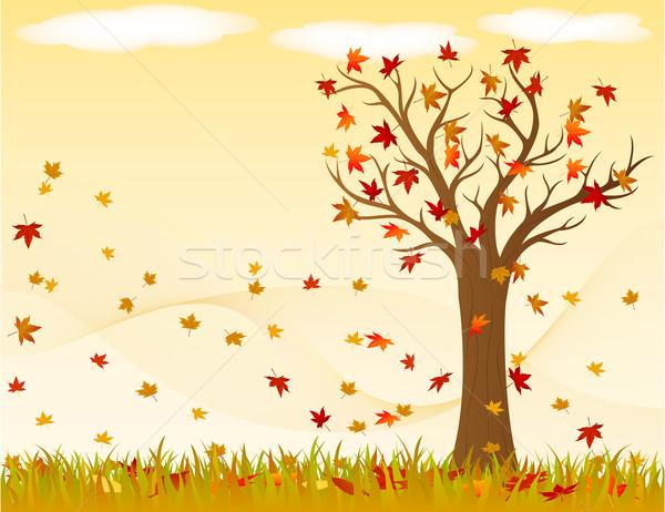 пейзаж осень ветер листьев небе Сток-фото © wingedcats