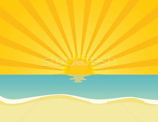 тропический пляж волнистый морем закат Восход прибыль на акцию Сток-фото © wingedcats