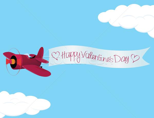 Stockfoto: Dag · vliegtuig · gelukkig · valentijnsdag · teken