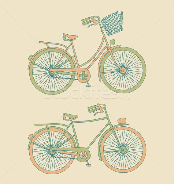 Retro bisikletler kadın erkekler kız dizayn Stok fotoğraf © wingedcats