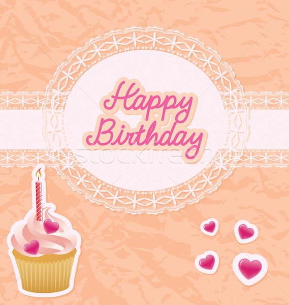 Foto stock: Feliz · aniversário · cartão · aniversário · fruto