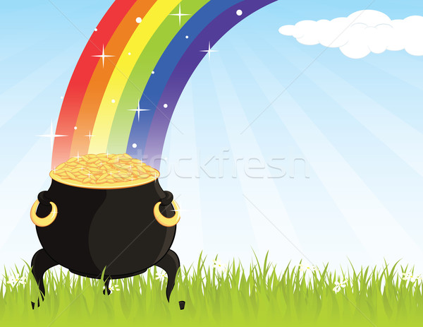 Pot goud gras regenboog geld partij Stockfoto © wingedcats