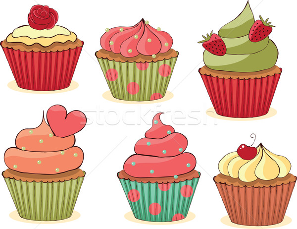 Sketchy Cupcakes Set.  Stock photo © wingedcats