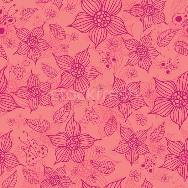 бесшовный весны шаблон цветы бабочки Сток-фото © wingedcats