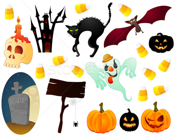 Halloween iconen collectie hout Stockfoto © wingedcats