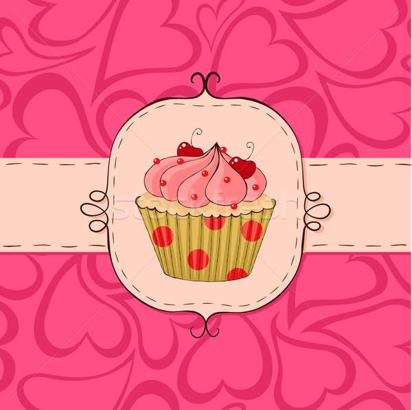 Roze kaart naadloos harten patroon Stockfoto © wingedcats