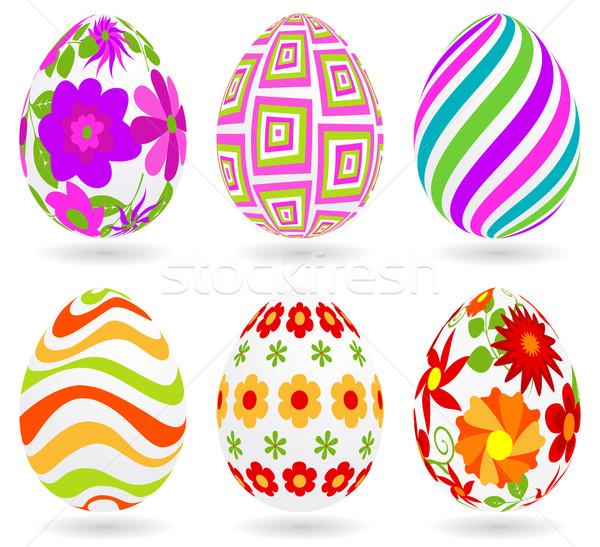 набор пасхальных яиц глобальный цветами один различный Сток-фото © wingedcats