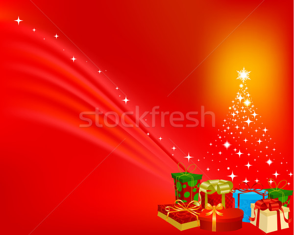 Christmas presenteert boom groene winter bal Stockfoto © wingedcats