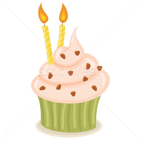 Születésnap minitorta gyertyák izolált illusztráció csokoládé Stock fotó © wingedcats
