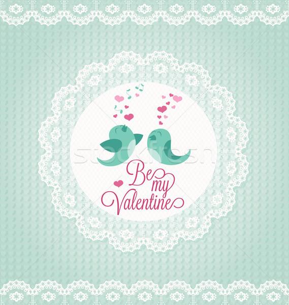 Valentijnsdag kaart twee vogels papier bruiloft Stockfoto © wingedcats