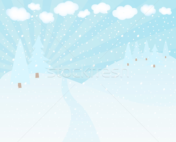 Winter landschap bergen bomen hemel boom Stockfoto © wingedcats