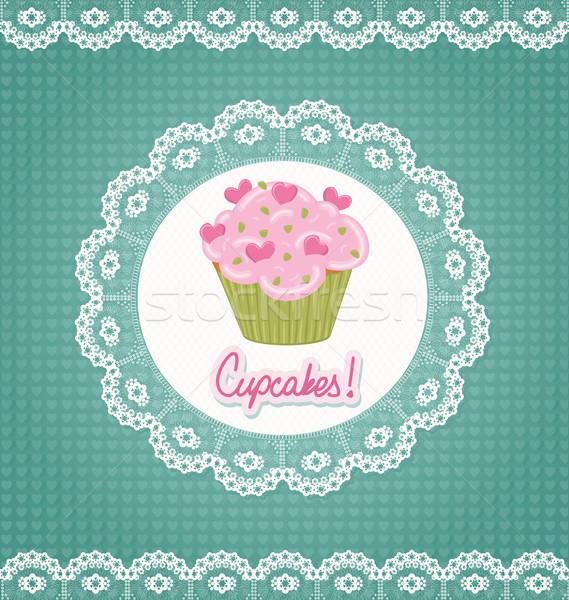Kártya csipke minitorta buli szeretet születésnap Stock fotó © wingedcats