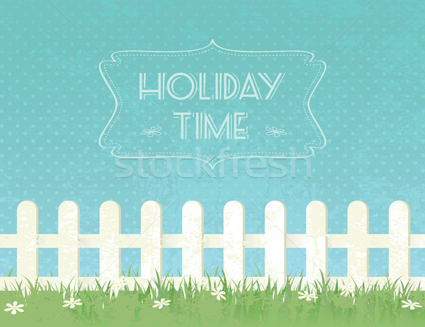 Vakantie tijd grunge hek bloemen Stockfoto © wingedcats