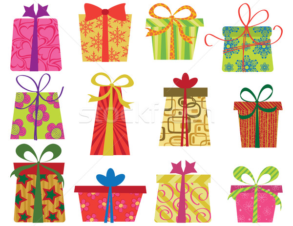 Leuk geschenken twaalf retro ingesteld eps Stockfoto © wingedcats