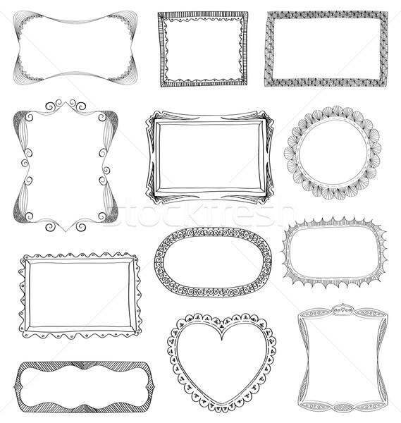 Frames ingesteld verschillend ornamenten textuur Stockfoto © wingedcats
