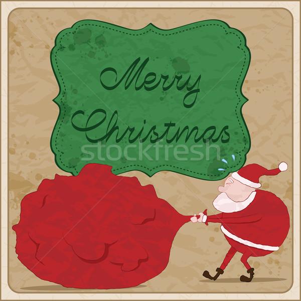 Karácsonyi üdvözlet mikulás kézzel rajzolt textúra keret piros Stock fotó © wingedcats
