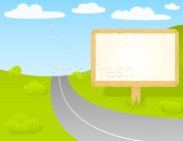 Verkeersbord houten billboard Stockfoto © wingedcats