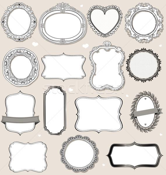 Bağbozumu kareler yalıtılmış vektör toplama kâğıt Stok fotoğraf © wingedcats