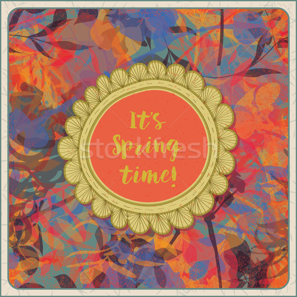 Vintage весны красочный шаблон баннер цветы Сток-фото © wingedcats