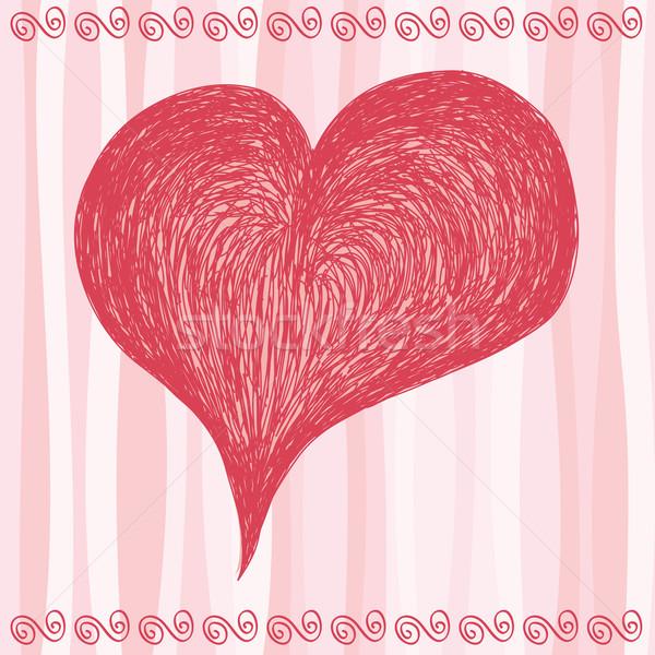 Pembe büyük kalp sevmek tatil Stok fotoğraf © wingedcats