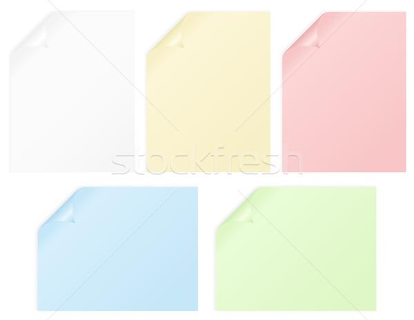 Notebook oldalak öt összegömbölyödve háttér oktatás Stock fotó © wingedcats